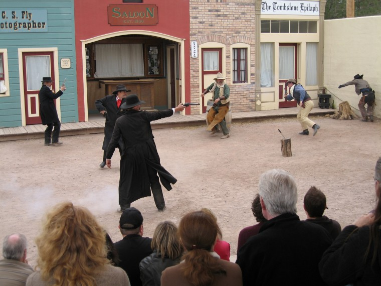 "Actors perform ""The Tragedy at the O.K. Corral"" at the shootout site in Tombstone, Arizona, in 2011."