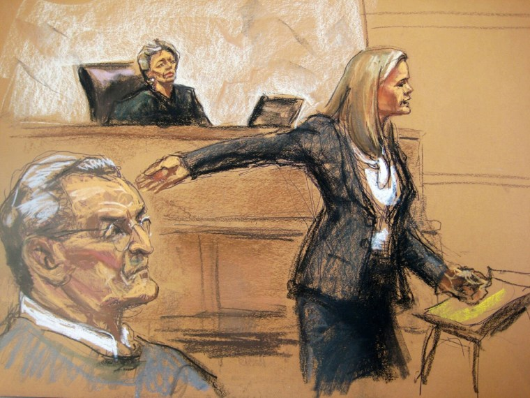 Image: Vincent Asaro and Judge Allyne Ross look on as prosecutor Lindsay Gerdes makes opening statements in Asaro's trial in this court sketch from New York