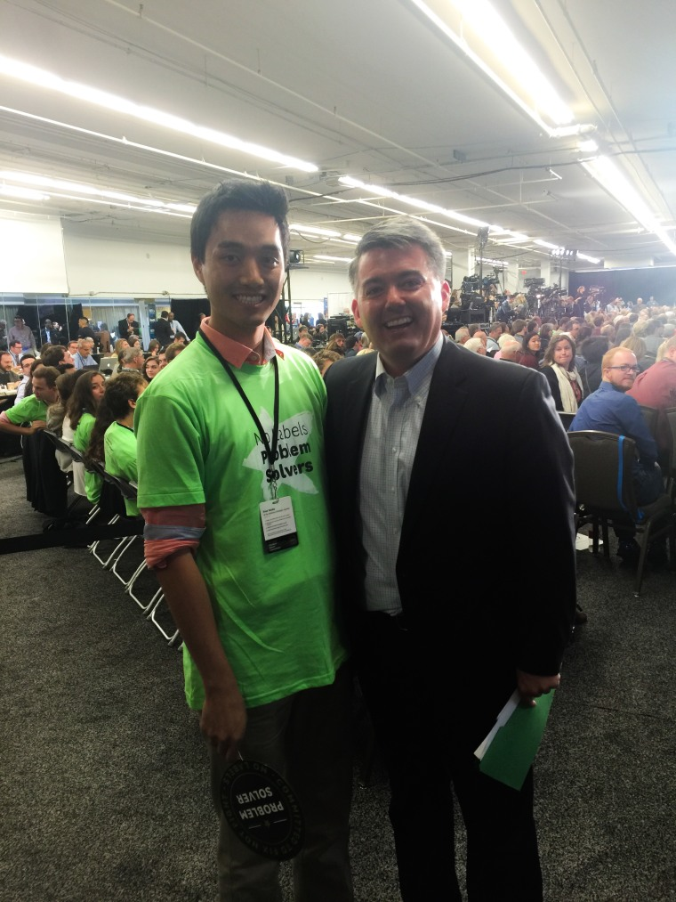 Joseph Choe at a convention with his U.S. Senator from Colorado, Cory Gardner.