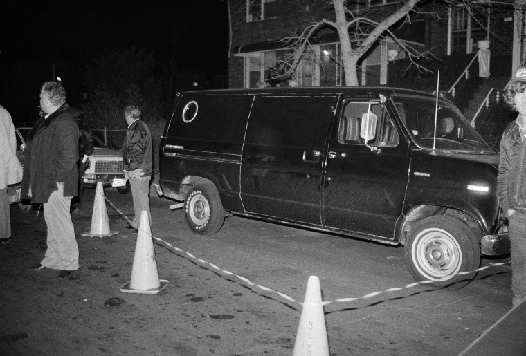In this Dec. 13, 1978 file photo, police cordon off an area around a stolen black van discovered in the Brooklyn borough of New York. Police suspect the van was used by thieves who escaped with more than $6 million in cash and jewels from a John F. Kennedy International Airport hangar.