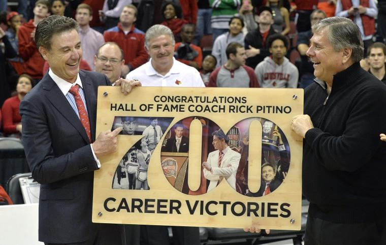 Image: Rick Pitino, Tom Jurich on Nov. 27, 2014