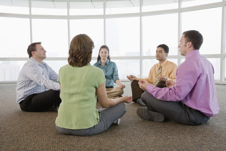 Stock photo: Office workers meditate