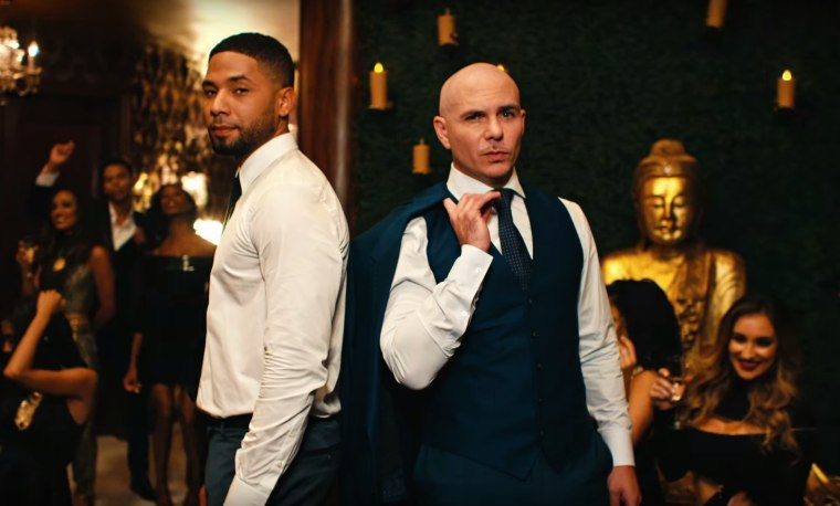 "Jussie Smollett and Pitbull in ""No Doubt About It"" music video."
