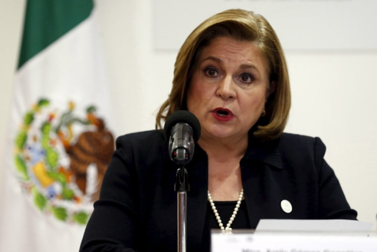 Image: Mexico's Attorney General Arely Gomez addresses the media in Mexico City