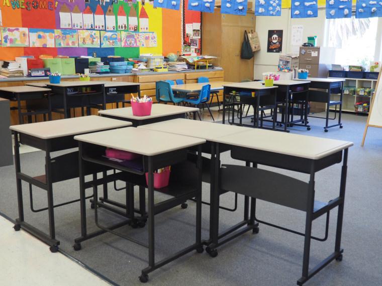 First grade classroom standing desks at Vallecito Elementary School in San Rafael, California.