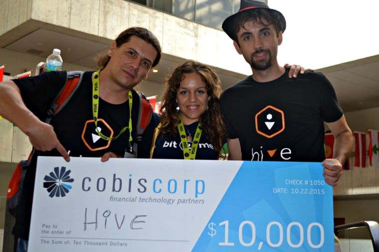 """Hive"" -a startup based in Spain- won first prize in the remittance hackathon at the second Fintech Americas Banking Disruption Conference in Miami. From left to right: Bogdan Stirbu, Salvia Santos, and Leif Ferreira."