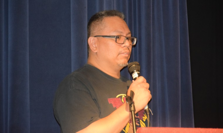 Johnny Itliong at the inaugural celebration of Larry Itliong Day in Oakland, Oct. 19. Itliong's next effort is to create new books for K-8 history classes, and to make Larry Itliong Day a national celebration.