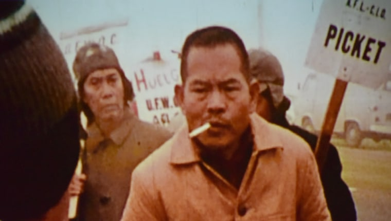 "Larry Itliong, striking in Delano, as seen in the documentary film ""The Delano Manongs."""