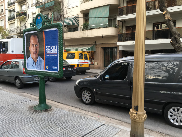 Street sign in Buenos Aires for Daniel Scioli.