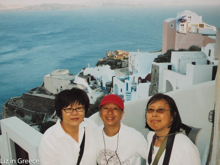 In between her chemotherapy treatments, Elizabeth OuYang traveled to Greece with her friends.