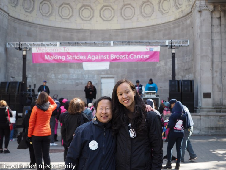 Elizabeth OuYang at the Making Strides Against Breast Cancer Walk in Central Park with her niece Emily, October 18, 2015.