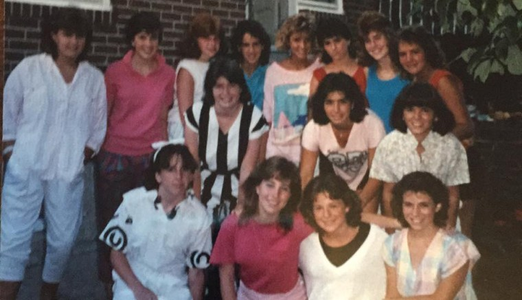 Kerry Byrnes and her friends in 1985