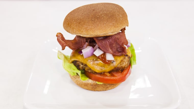 Joy Bauer shares her recipe for a healthier bacon burger live on TODAY.
