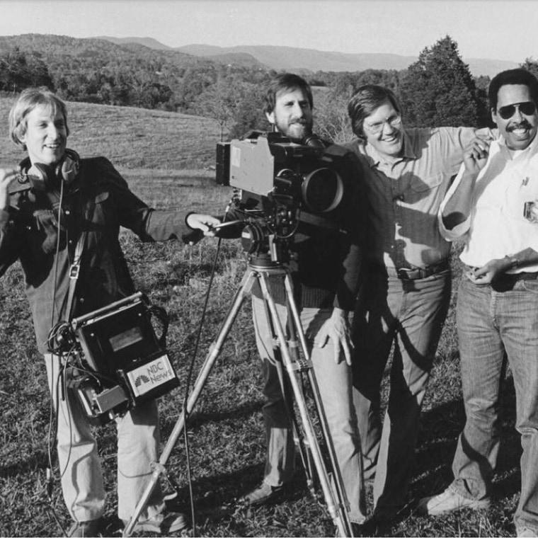 Bob Dotson with NBC News crew, 1980: From left,  Rob Kane, sound; Allen Stecker, camera; Dotson, and Bert Medley, producer.
