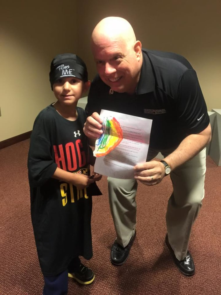 After asking a group of pediatric cancer patients to attend a Washington Redskins game with him in September, Governor Hogan met Andrew Oberle, a 5-year-old t-cell leukemia patient who presented the governor with a list of tips for fighting cancer.