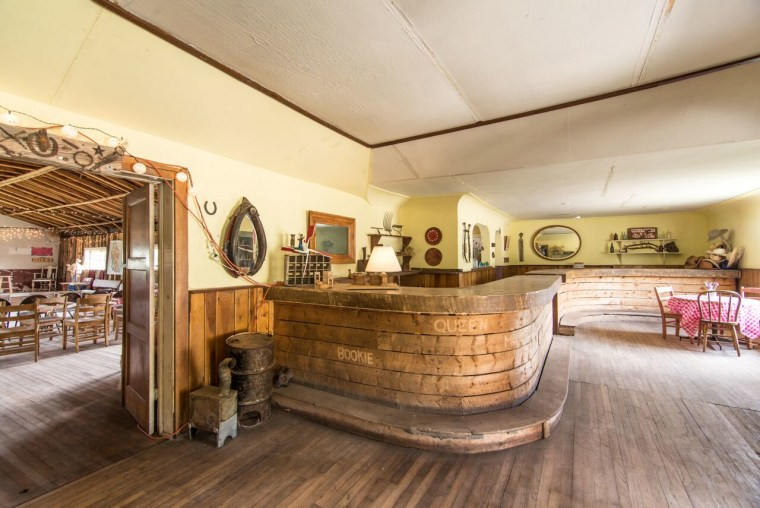 The spooky but pretty interior of a Colorado Ghost Town property for sale