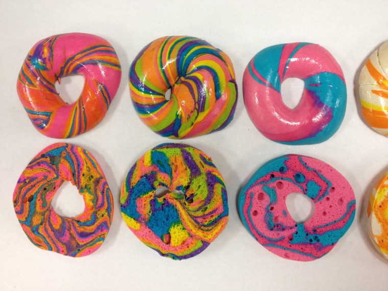 Sliced Rainbow Bagels at Brooklyn's The Bagel Store
