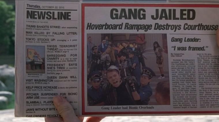 """Back to the Future II"" newspaper"