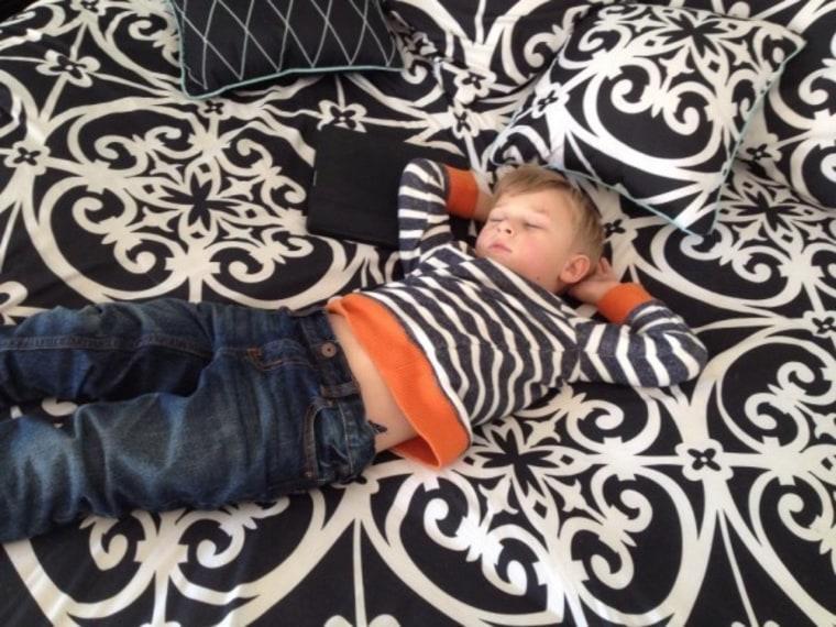 Amanda Mushro's son sleeping