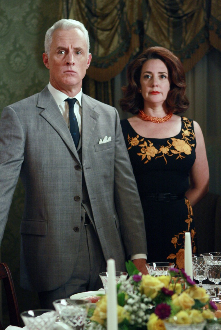 MAD MEN, (from left): John Slattery, Talia Balsam, 'A Night To Remember', (Season 2, aired Sept. 14,