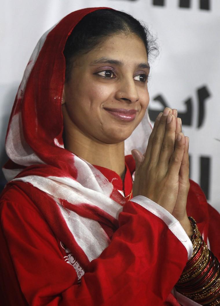 Image: Geeta prepares to depart from Karachi, Pakistan