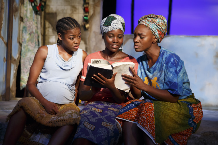 Lupita Nyong'o and Zainab Jah in ECLIPSED, written by Danai Gurira and directed by Liesl Tommy, running at The Public Theater. Photo credit: Joan Marcus.