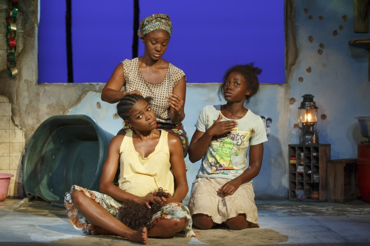 Pascale Armand, Saycon Sengbloh, and Lupita Nyong'o in ECLIPSED, written by Danai Gurira and directed by Liesl Tommy, running at The Public Theater. Photo credit: Joan Marcus.