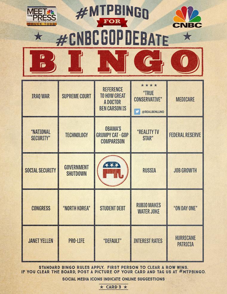 MTP Bingo Card 3 for the CNBC Debate