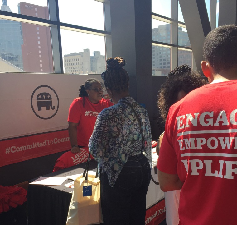 Kristal Quarker Hartsfield, RNC Director of African American Strategic Initiatives, speaks with voters at the Women's Empowerment Conference in Cincinnati, Ohio.