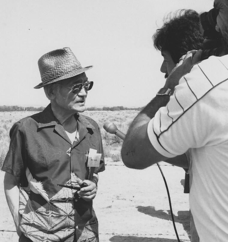 Min Yasui being filmed at Minidoka Relocation Center, Idaho, 1985