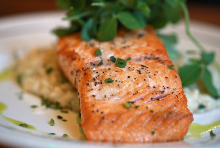 Image: Salmon with risotto.