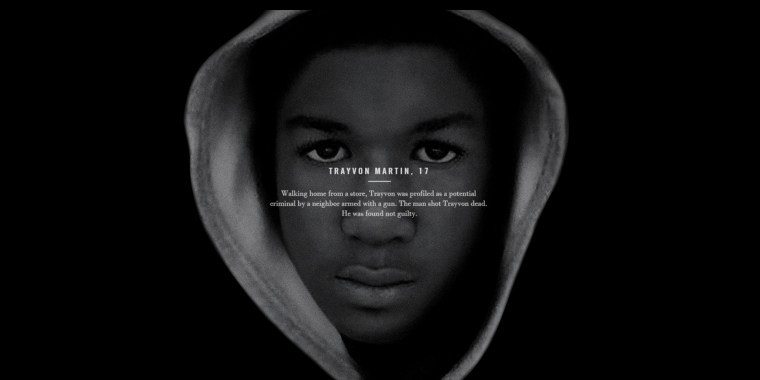 Screenshot of Usher's Chains video featuring Trayvon Martin's picture