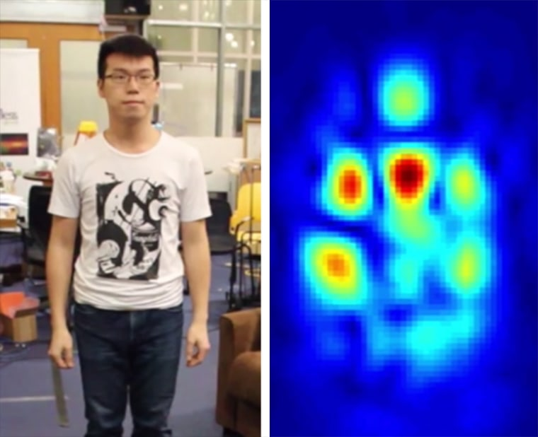 Researchers at the Massachusetts Institute of Technology have developed a device that uses wireless signals to detect silhouettes of people who aren't within sight — even on the other side of a wall. The machine sends wireless signals that bounce off a person and builds an image of the person that looks similar to heat-sensing imaging.