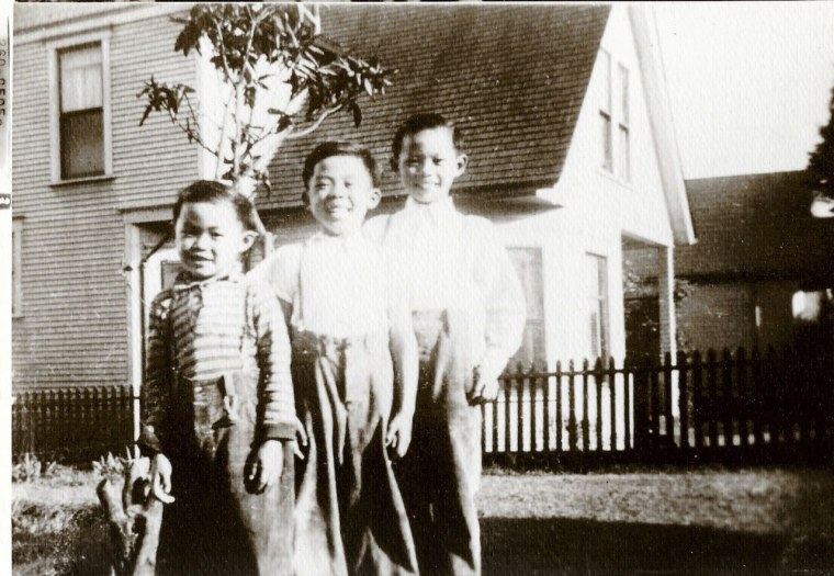 The Seattle childhood home of Roger Eng Sr. in the 1940s. (Left to right: Roger Eng,  Sam Eng, and Russell Eng)