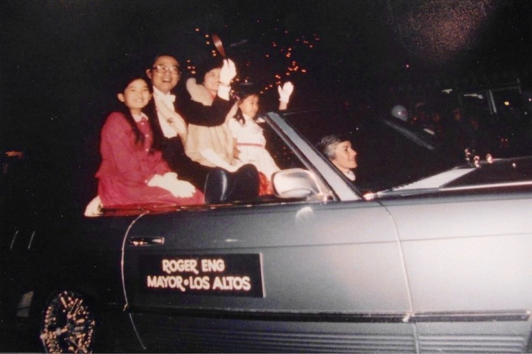 Annual Los Altos Parade of Lights in November 1981. (Left to right: Sharisse Eng, Roger Eng, Sylvia Eng, and Shanelle Eng.)
