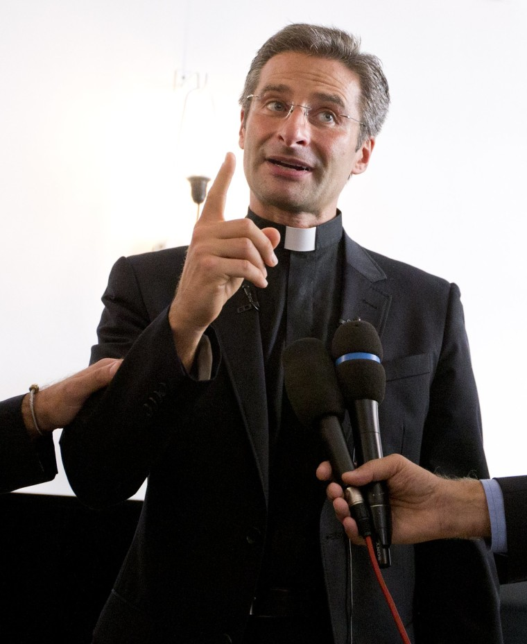Image: Krzysztof Charamsa discussed his sexuality with news reporters in Rome on Oct. 3, 2015.