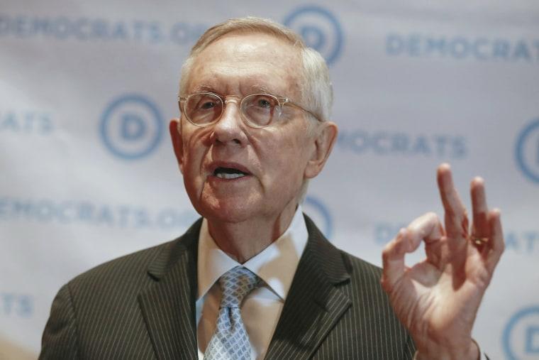 Image: Senate Minority Leader Harry Reid speaks during a news conference in Las Vegas