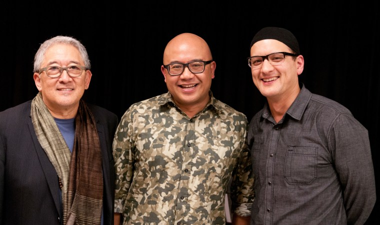 Author Lysley Tenorio (center) stands next to the playwrights who adapted his fiction for ACT-SF's Strand theater production, Philip Kan Gotanda (left) and Sean San Jose (right).