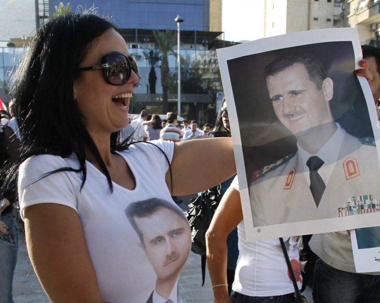 Image: Bashar Assad supporter in Damascus in June 2011