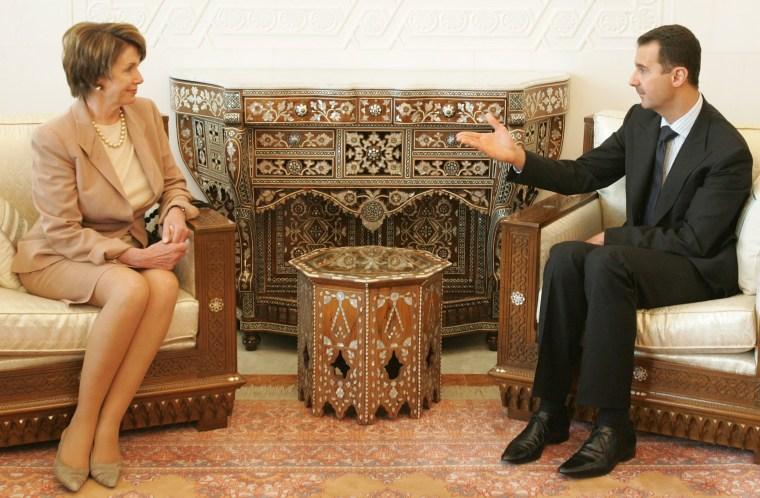 Image: Nancy Pelosi and Bashar Assad meet on April 4, 2007