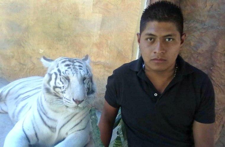Jorge Antonio Tizapa Legideño, Tizapa's son, at a zoo in Mexico.
