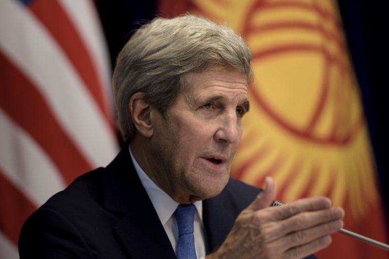 Image: U.S. Secretary of State John Kerry speaks during a news conference at the Ala Archa compound in Bishkek