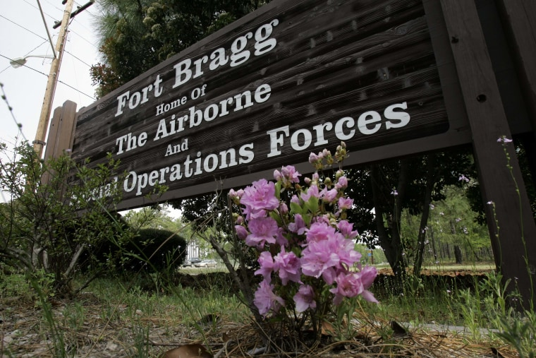 This photo shows an entrance sign to Fort Bragg, N.C., Tuesday, April 24, 2007.