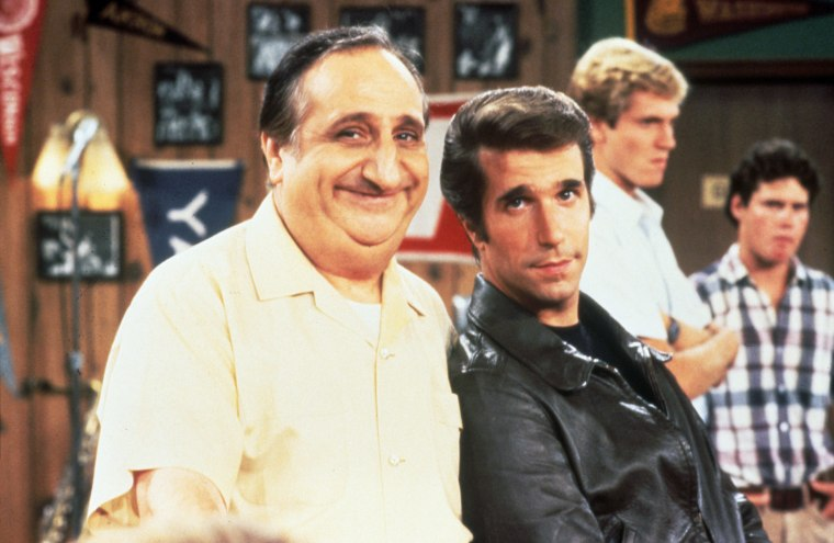 "Al Molinaro and Henry Winklker in 1977 on the set of ""Happy Days."""