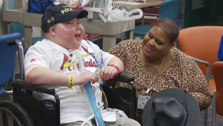 Zyron Ward and his mother at his surprise party at St. Louis Children's Hospital