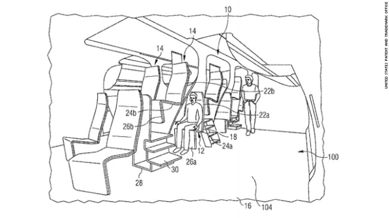 Airbus' patent for elevated seat rows