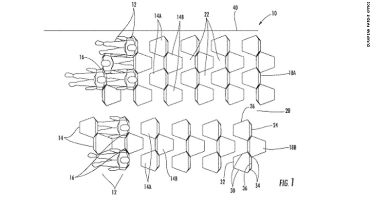7 scary airline seat patents: hexagon seats