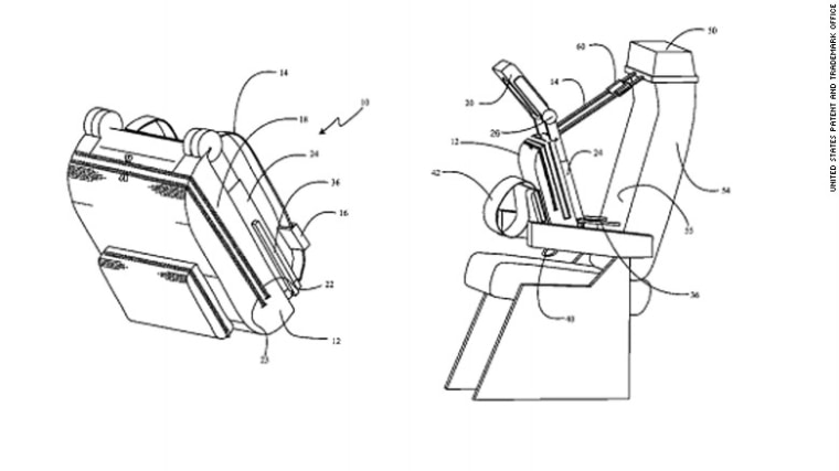 7 scary airline seat patents: seat that allows a passenger to sleep sitting upright