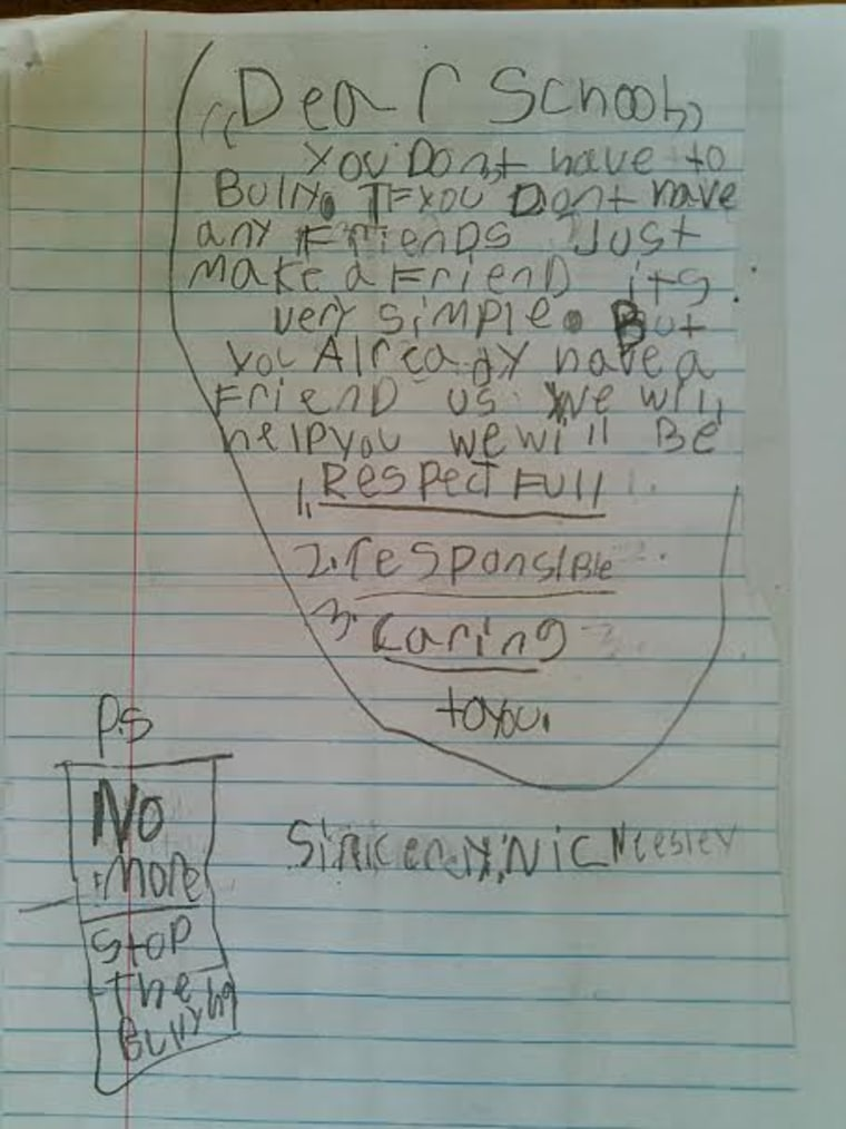 Nicolas Neesley bully letter to school