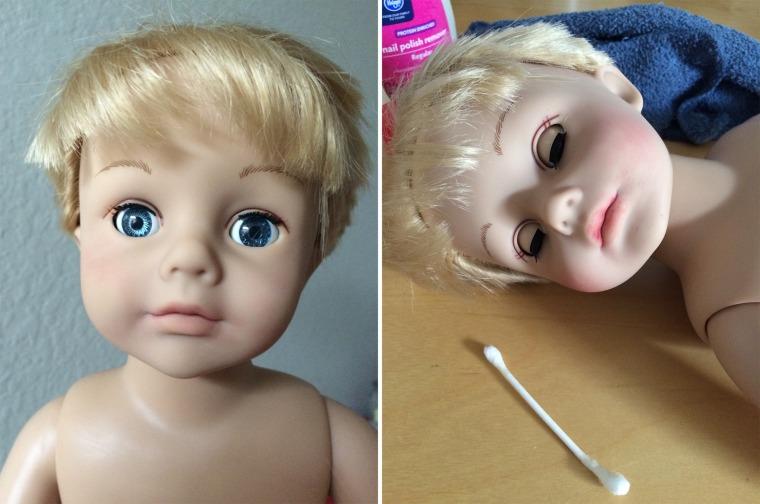 Girl doll transformed into a boy doll